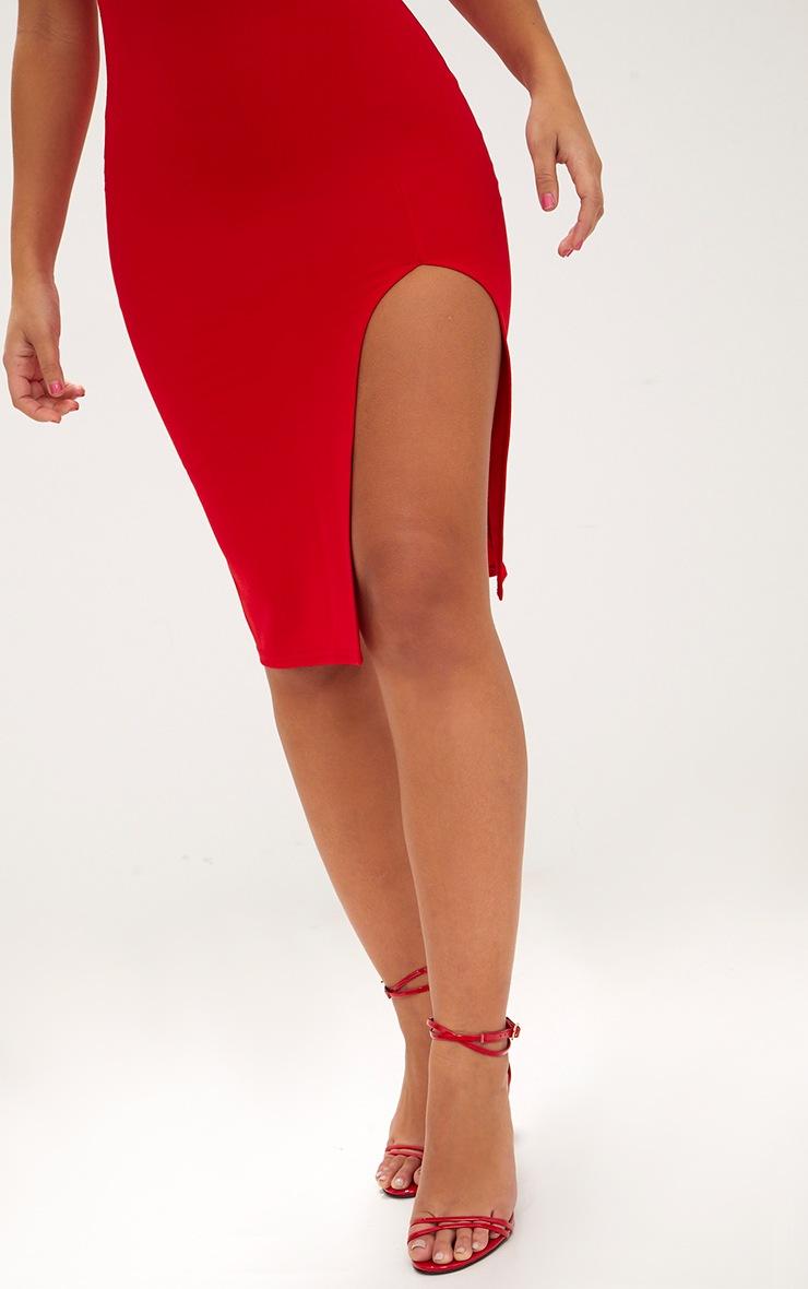Red Tie Back Scoop Neck Midi Dress 5