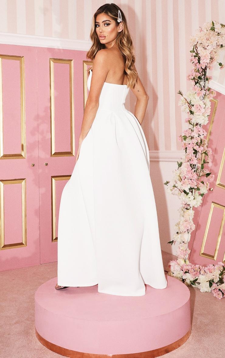 White Scuba Bandeau Maxi Dress 2