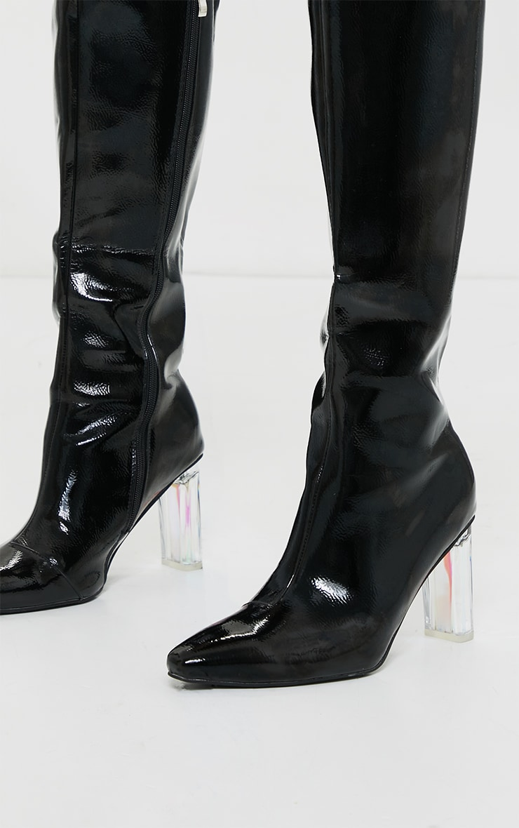 Black Wide Fit Patent Clear High Block Heel Knee High Boots 3