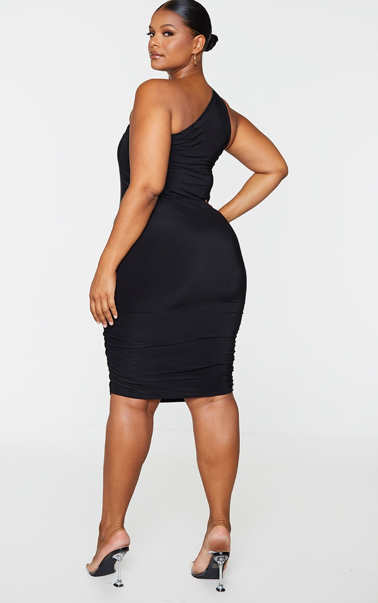 Plus Black Slinky One Shoulder Ruching Bodycon Dress 2