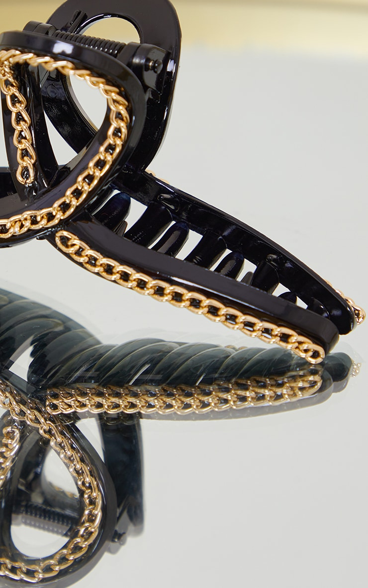 Black With Gold Chain Hair Clip 3