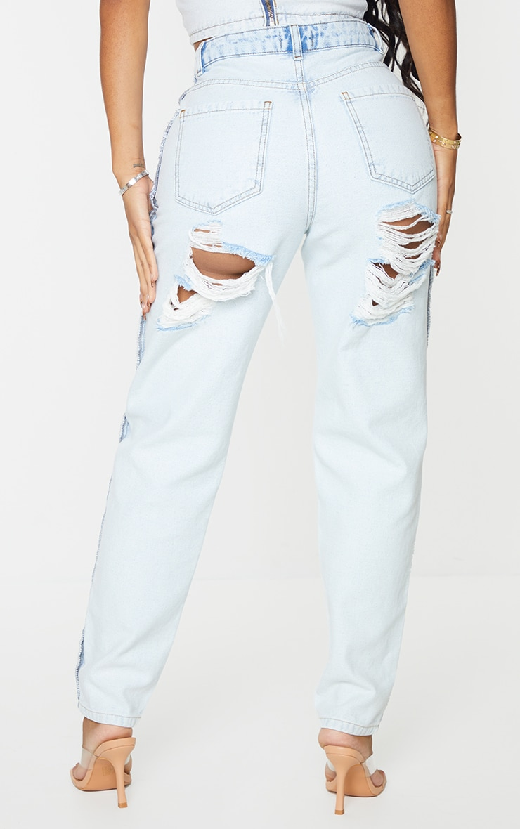 Shape Bleach Wash Inside Out Ripped Bum Straight Leg Jeans 3