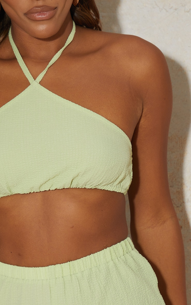 Lime Textured Halterneck Crop Top 4