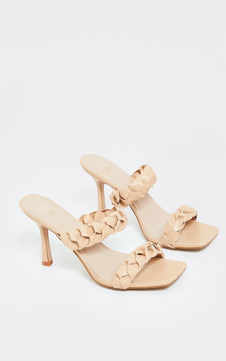 Sand Square Toe Twin Strap PU Plaited Mule Heels 2