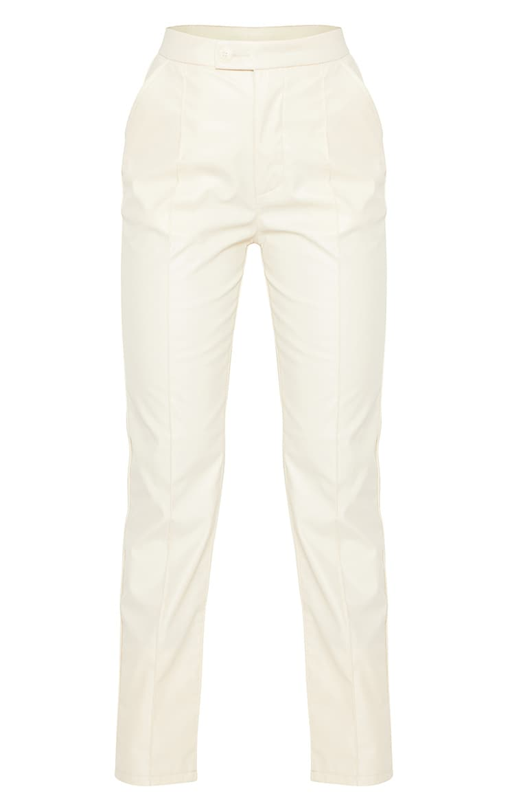 Cream Faux Leather Pintuck Detail Straight Leg Trousers 5