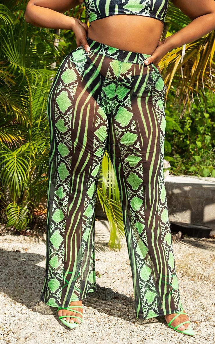 Plus Lime Snake Print Mesh Wide Leg Trouser 2