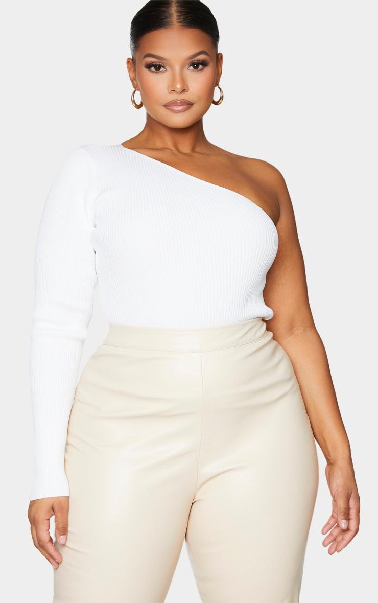 Plus White Asymmetric One Sleeve Knitted Rib Top 1