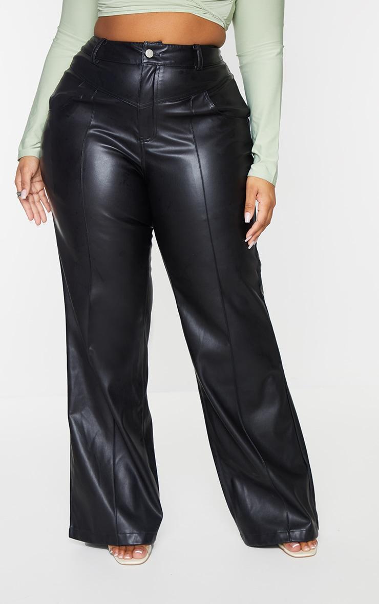 Plus Black Faux Leather Seam Detail Wide Leg Pants 2