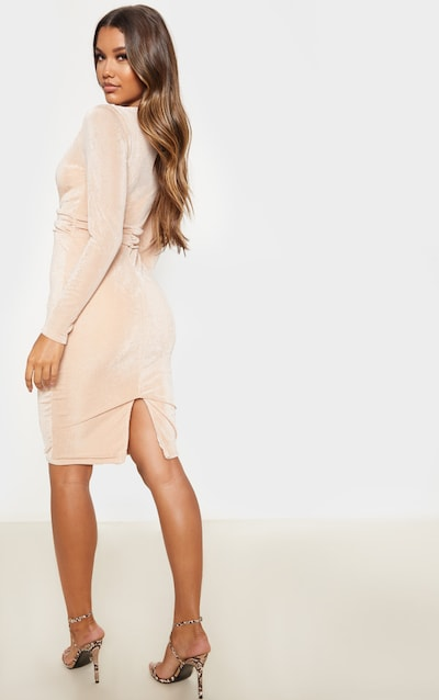 Champagne Textured Slinky Drape Sleeve Plunge Midi Dress