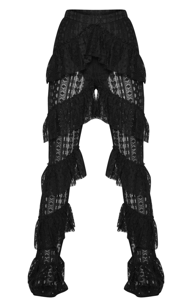 Black Tiered Lace Flare Trouser 3