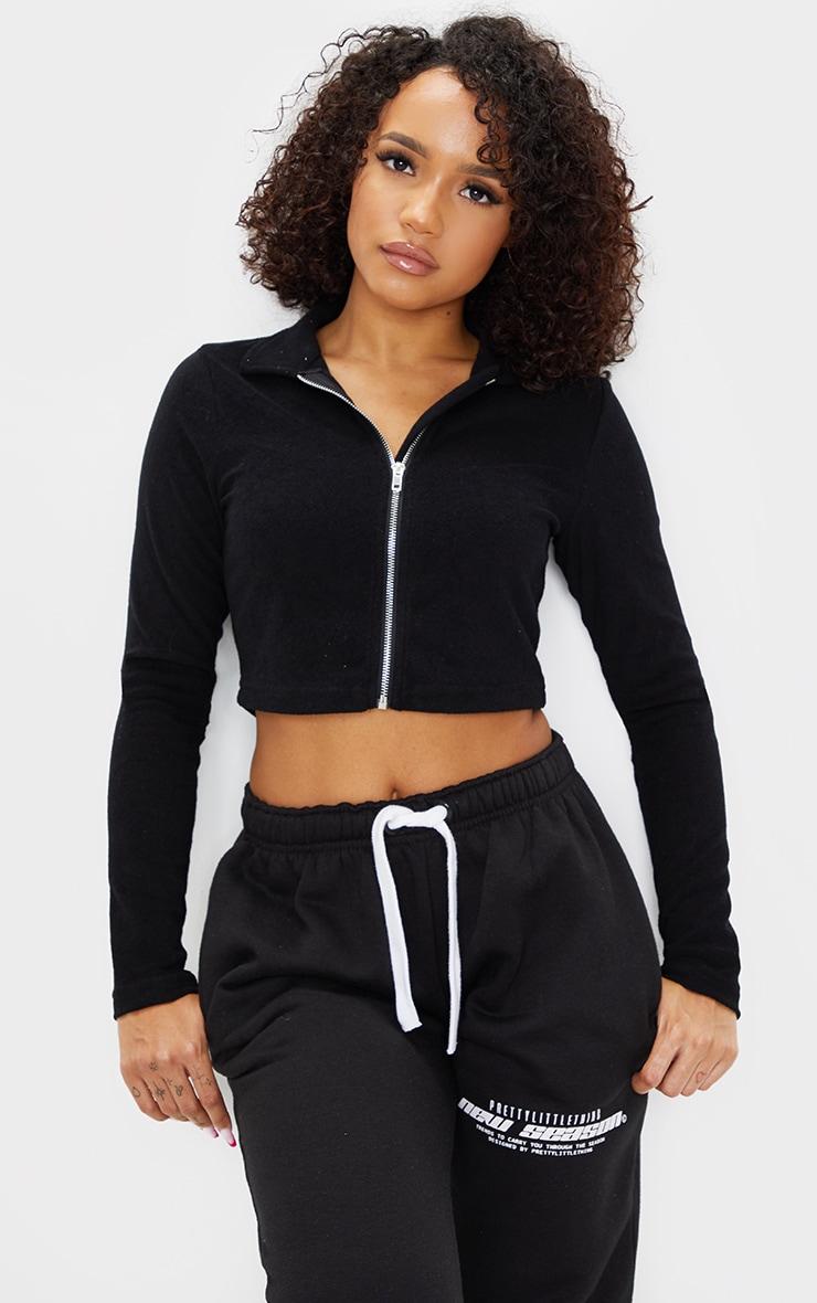 Black Towelling Zip Up Long Sleeve Crop Top 1