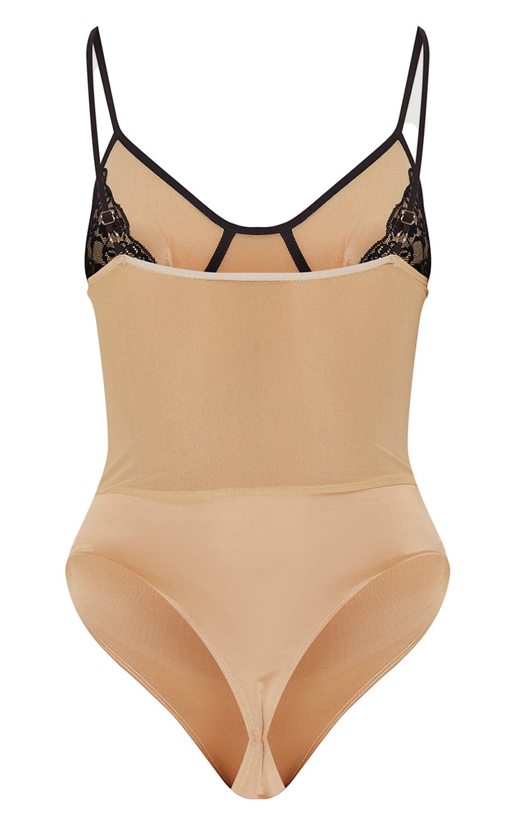 Nude Sheer Mesh Contrast Binding Strappy Bodysuit 4