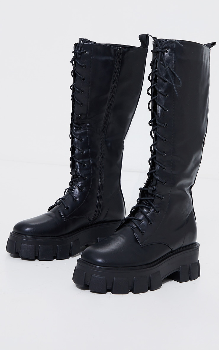Black Pu Extreme Cleated Lace Up Knee High Boots 3