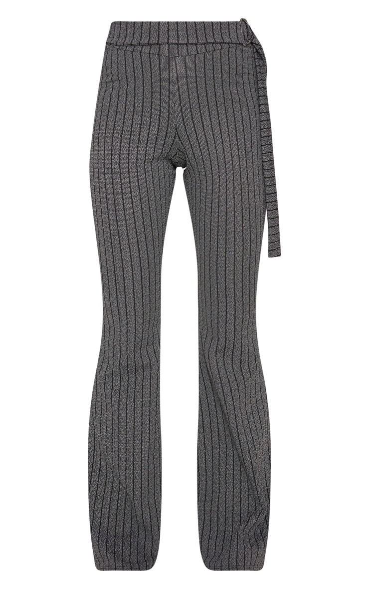 Grey D Ring Textured Stripe Wide Leg Pants 3