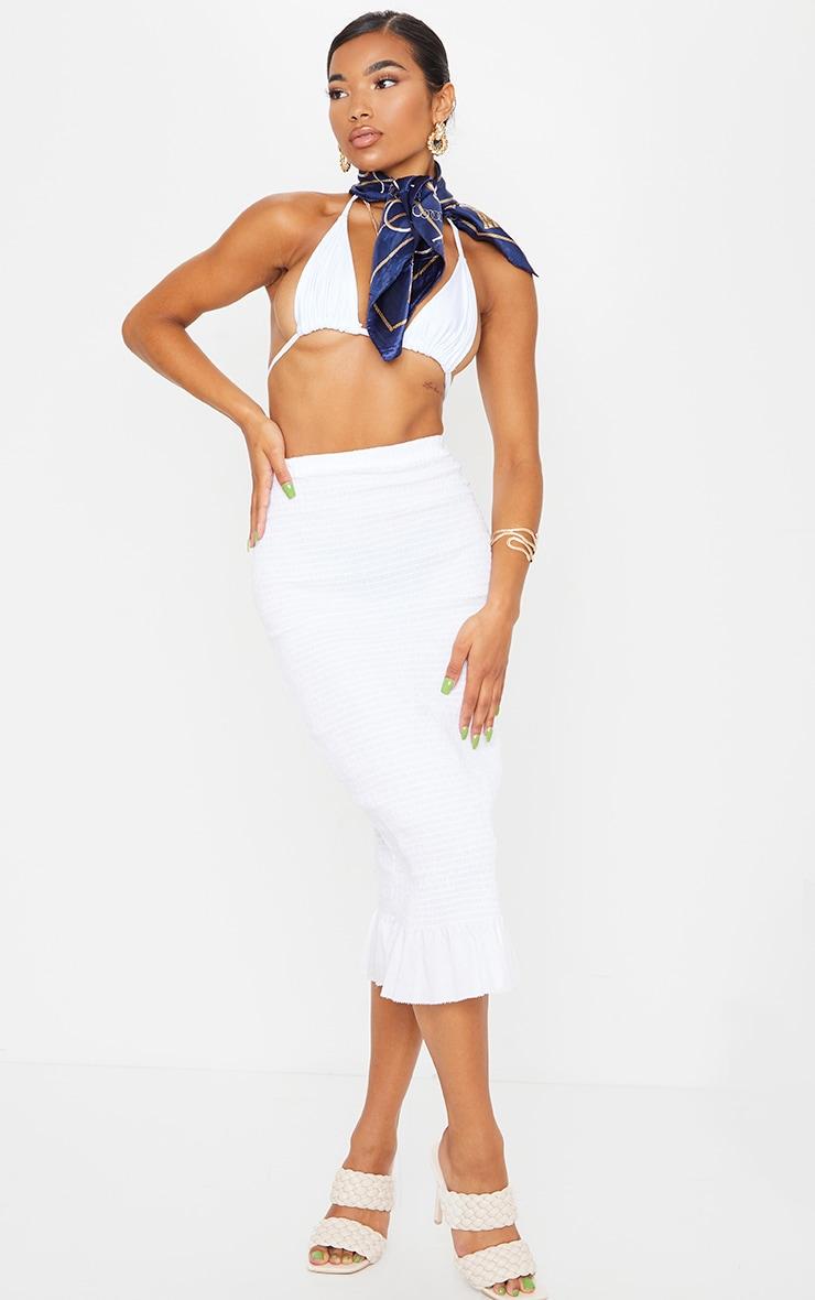 White Shirred Frill Hem Midi Skirt 1