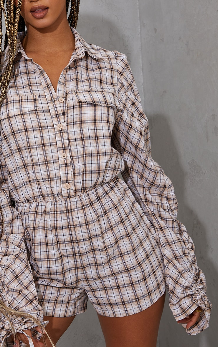 Brown Check Ruched Sleeve Shirt Playsuit 4