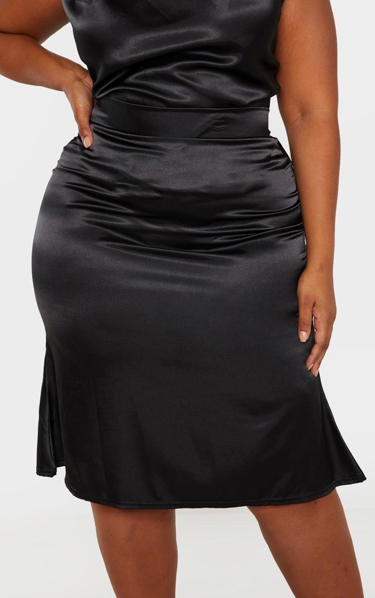 Plus Black Satin Flare Hem Midi Skirt  5