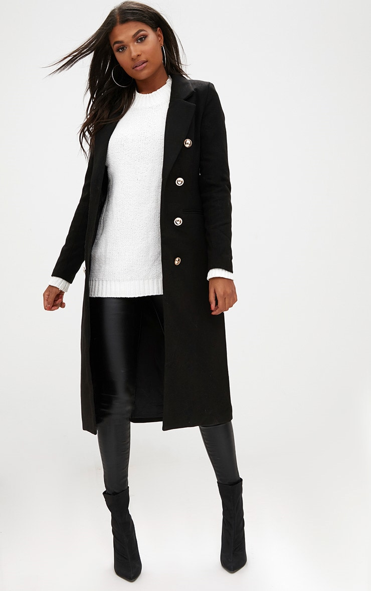 Black Longline Double Breasted Coat 1