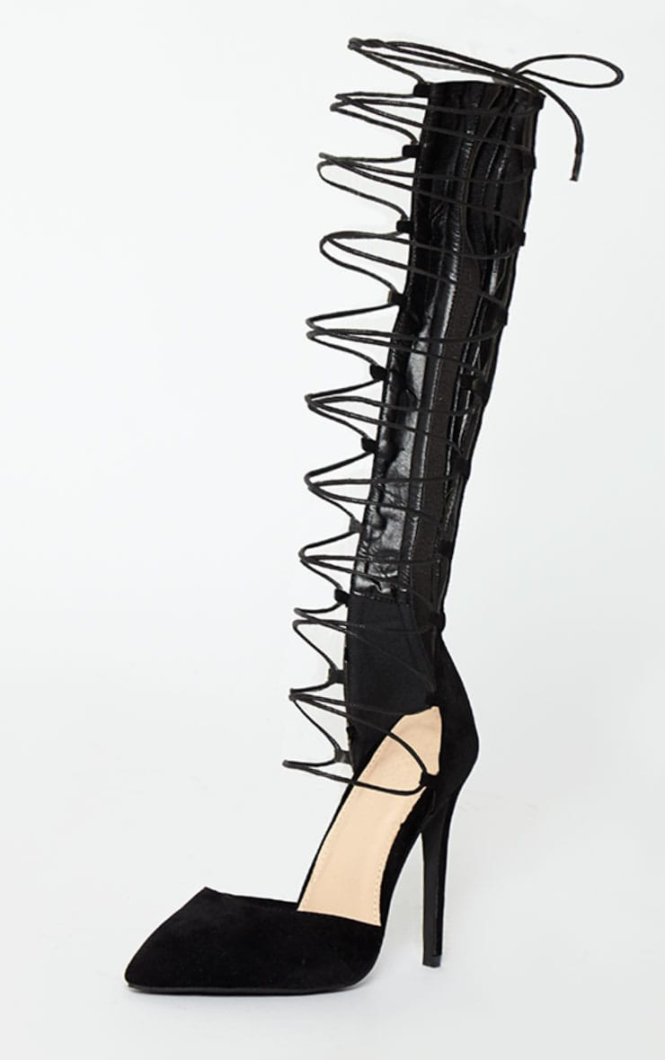 Reena Black Suede Pointed Strappy Knee High Heels 4