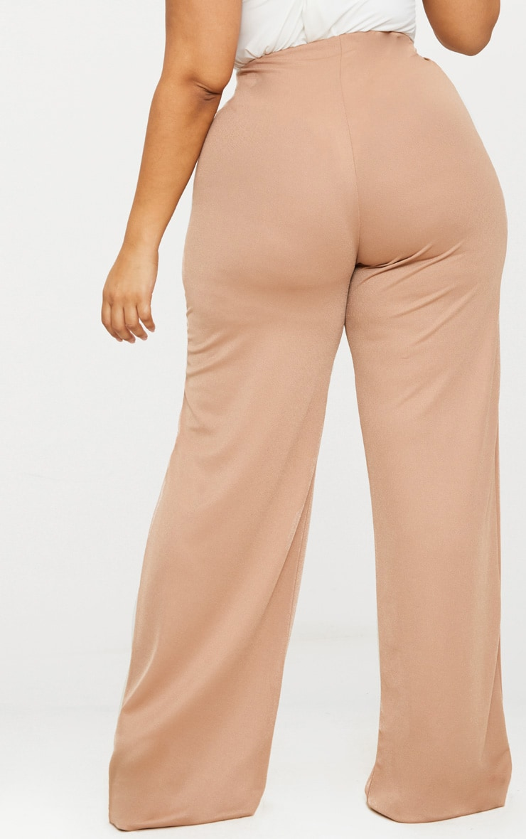 Plus Camel High Waisted Wide Leg Trousers 4