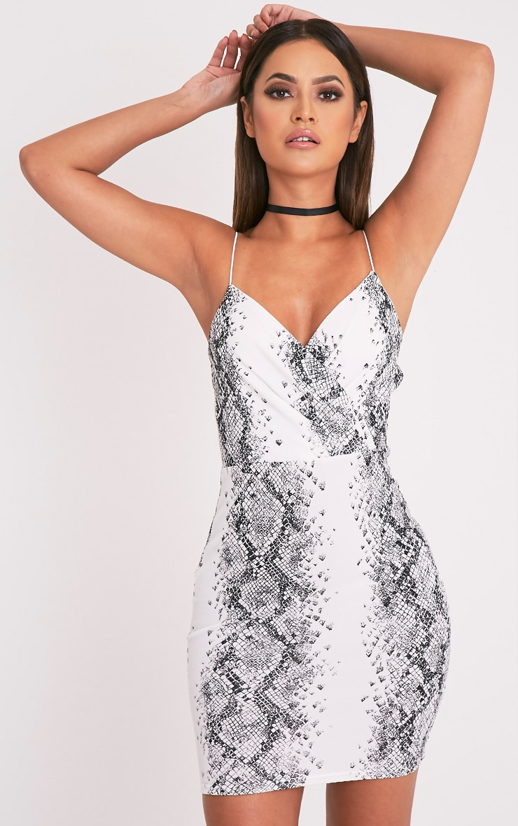 PRETTYLITTLETHING Snake Print Strappy Bodycon Dress Clearance Exclusive From China Sale Online Cheap Really Free Shipping Manchester Excellent Online AI8YQaBb