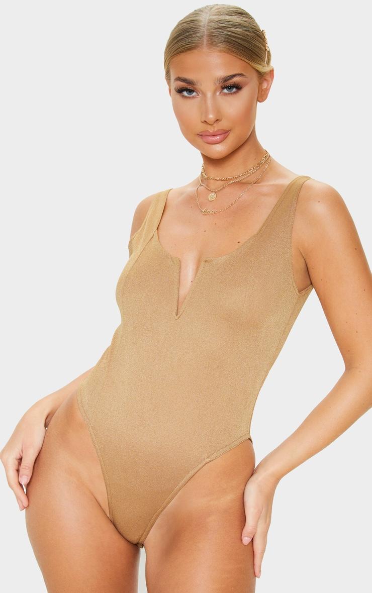 Camel V Cut Sleeveless Bodysuit 1