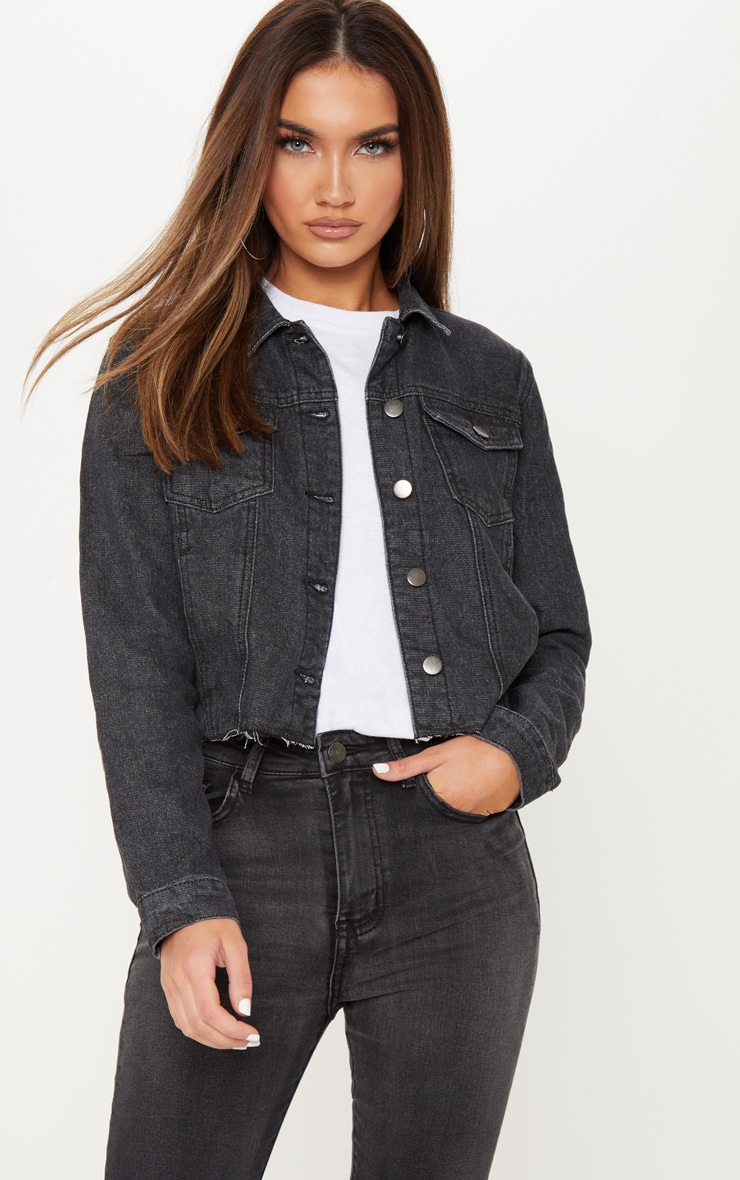Washed Black Cropped Denim Jacket  2