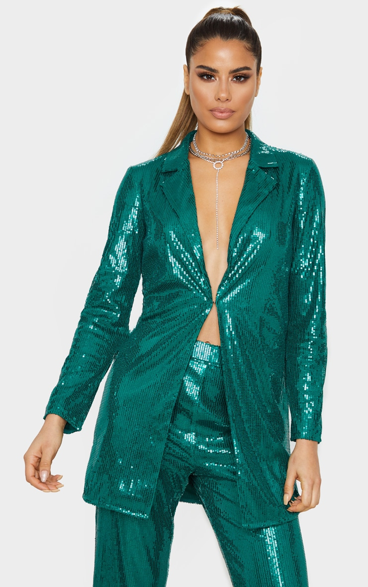 Tall Emerald Green Sequin Longline Blazer 1