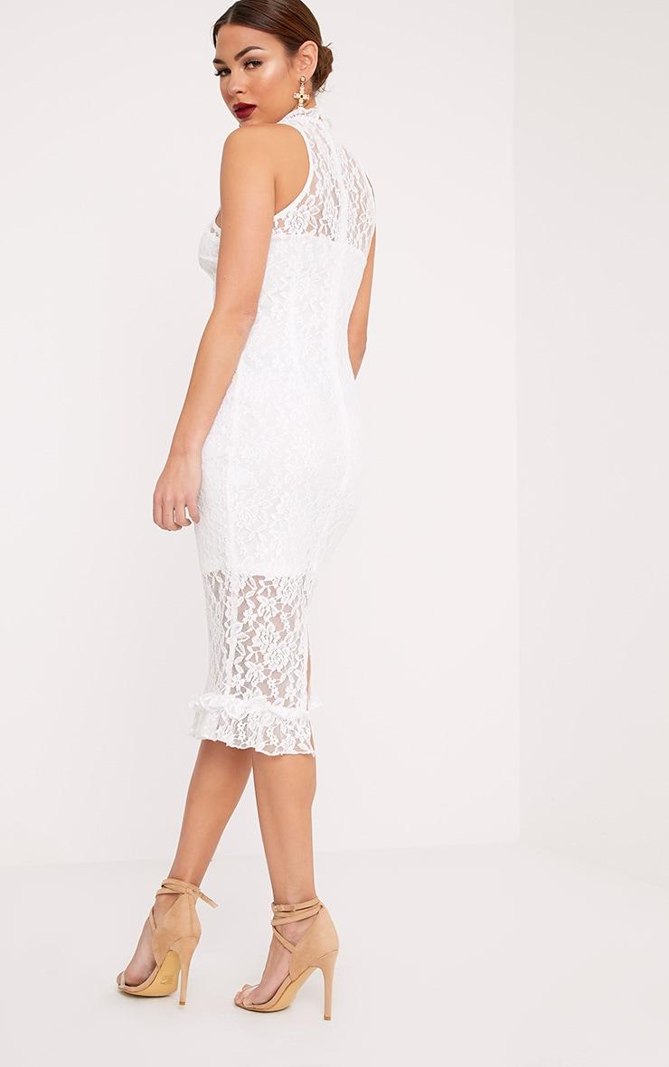 Helen White Lace Frill Neck Midi Dress 2