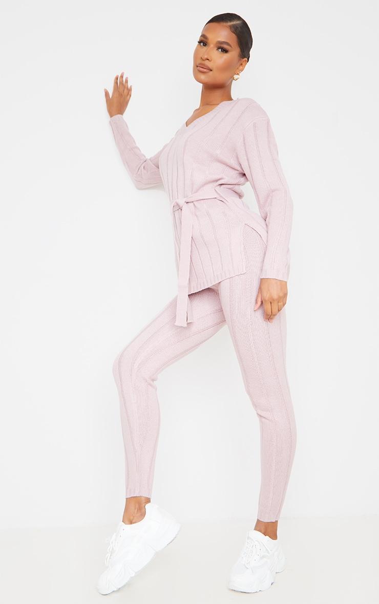 Rose Belted Longline Sweater And Legging Lounge Set 3