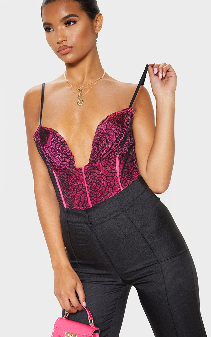 Hot Pink Contrast Lace Strappy Bodysuit 5