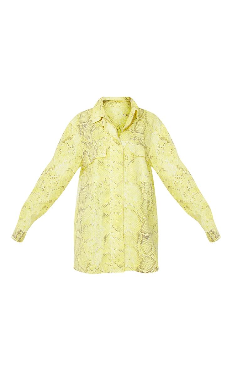 Yellow Snake Printed Denim Dress 6