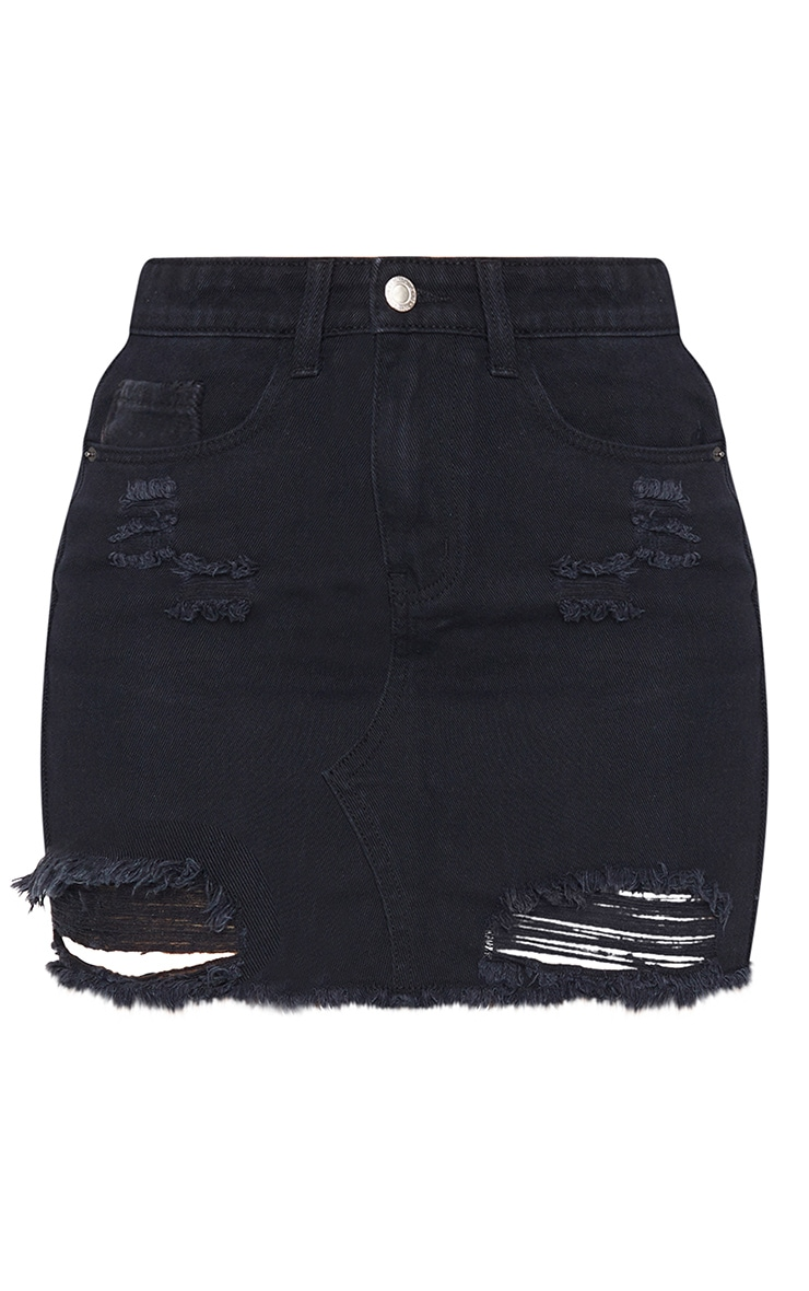 Black Distressed Rip Denim Mini Skirt 6