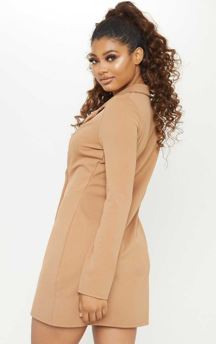 Tall Brown Mini Double Breasted Blazer Dress 2