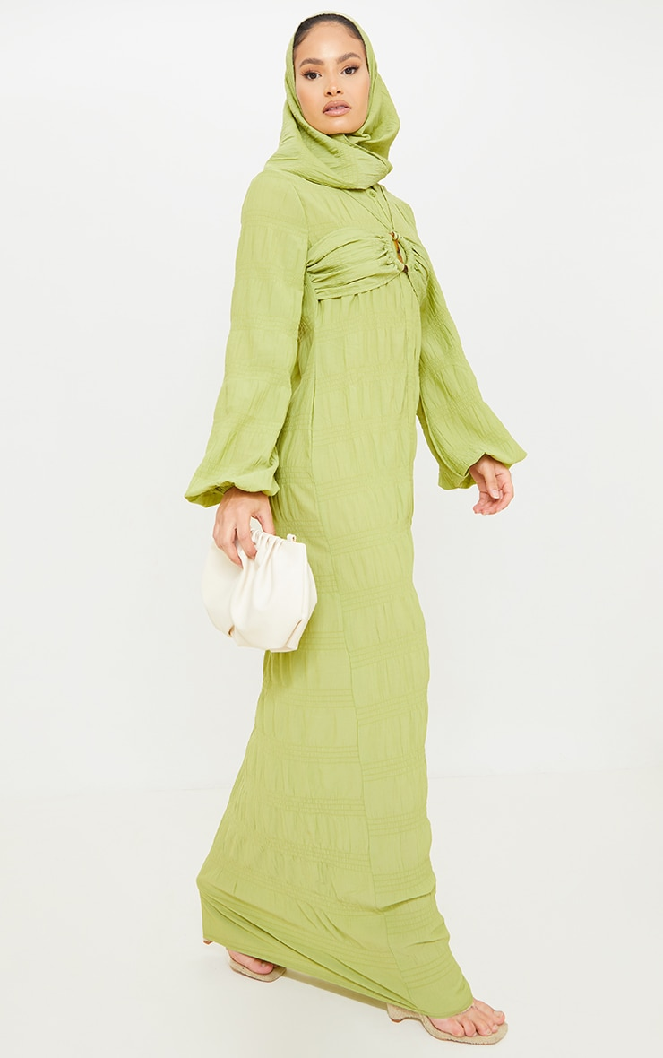 Olive Crinkle Woven Bust Strap Detail Long Sleeve Maxi Shirt Dress 4