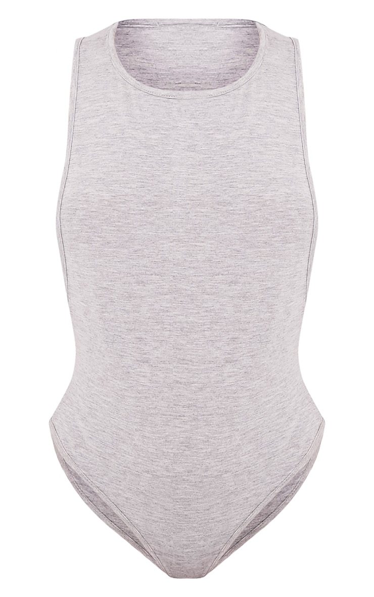 Grey Drop Armhole Thong Bodysuit 3