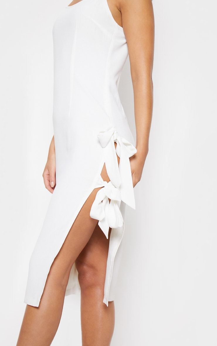 White Split Side Midi Dress 6