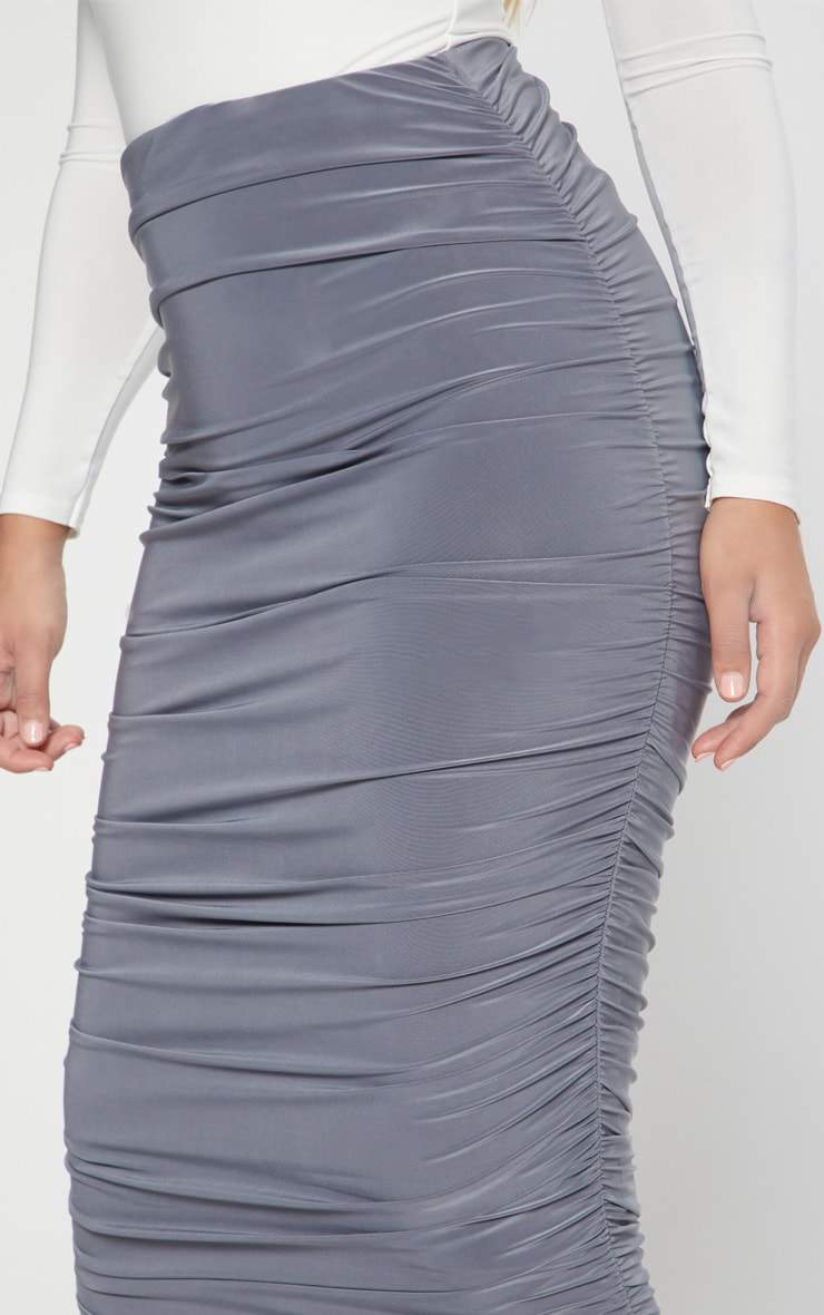 Grey Slinky Second Skin Ruched Midi Skirt 5