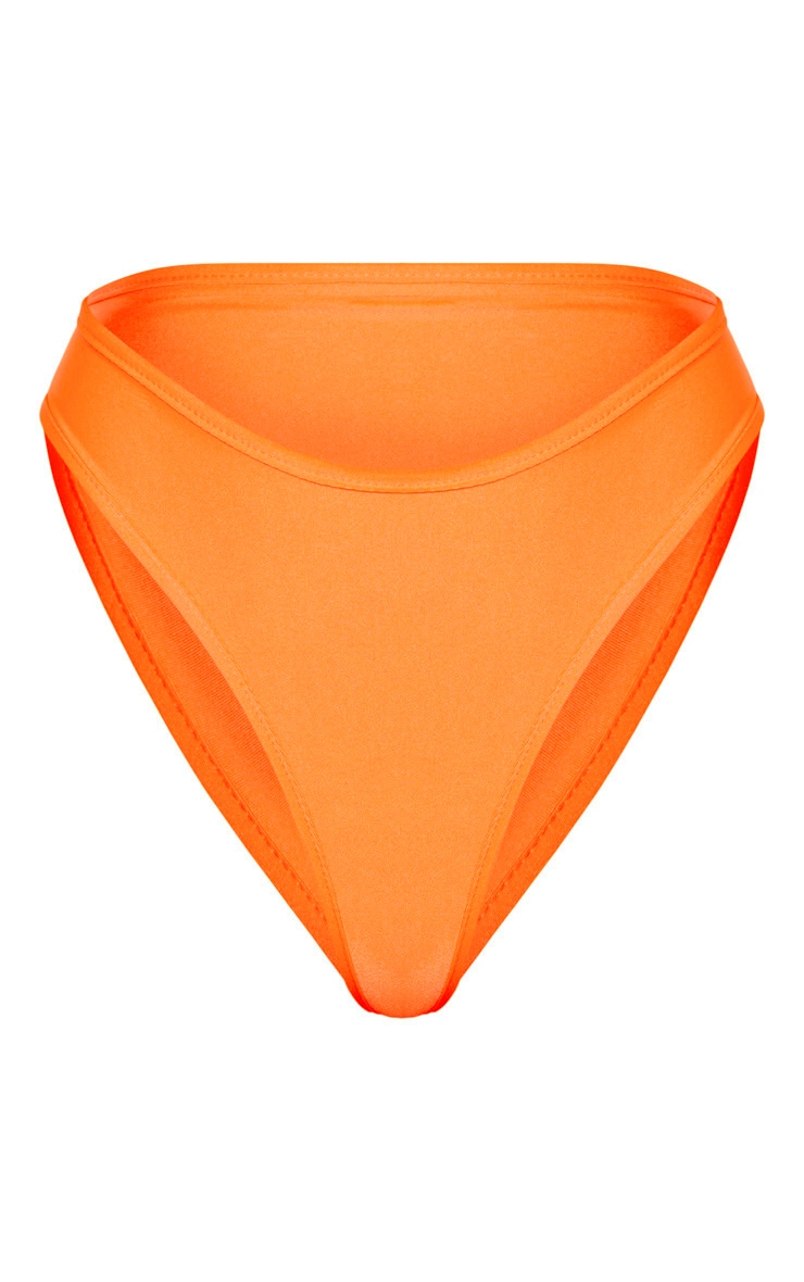 Tall Bright Orange High Waist Bikini Bottoms 6