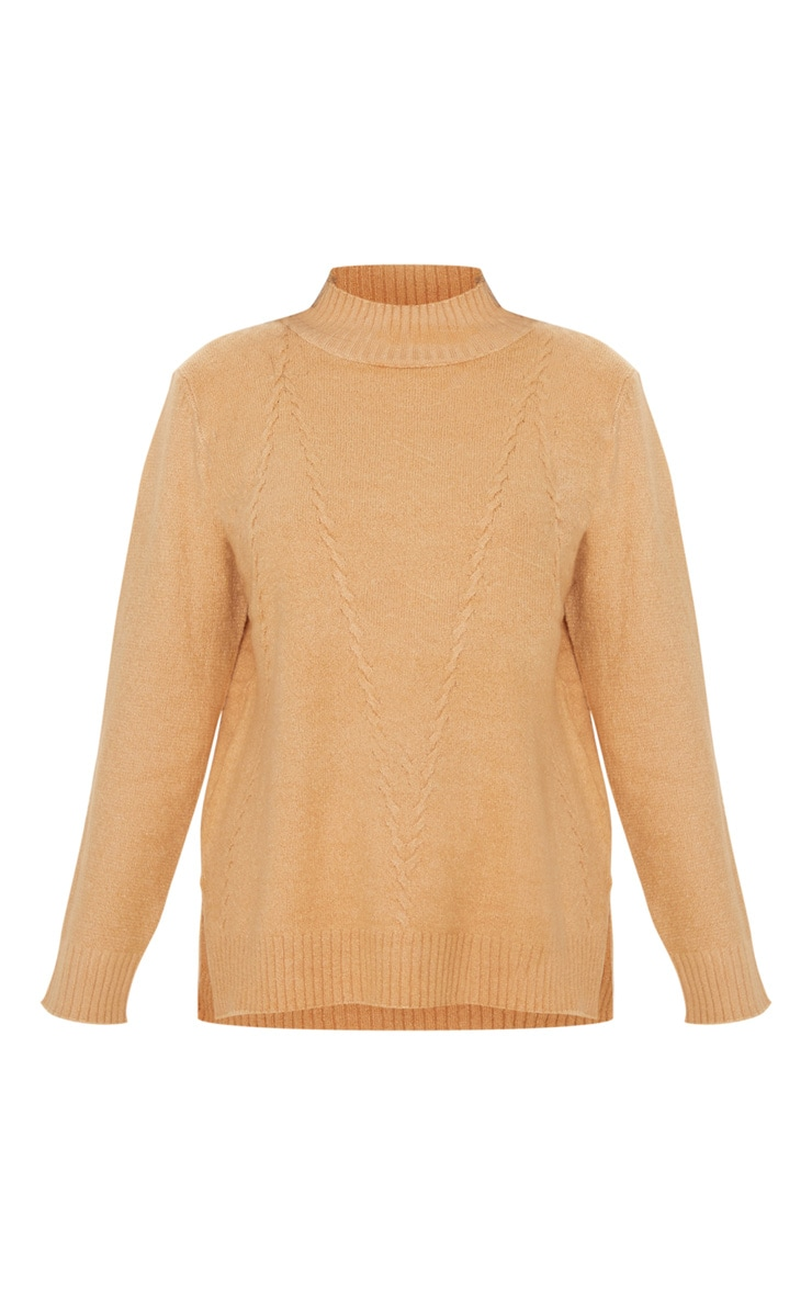 Camel High Neck Fluffy Knit Twist Detail Sweater 3