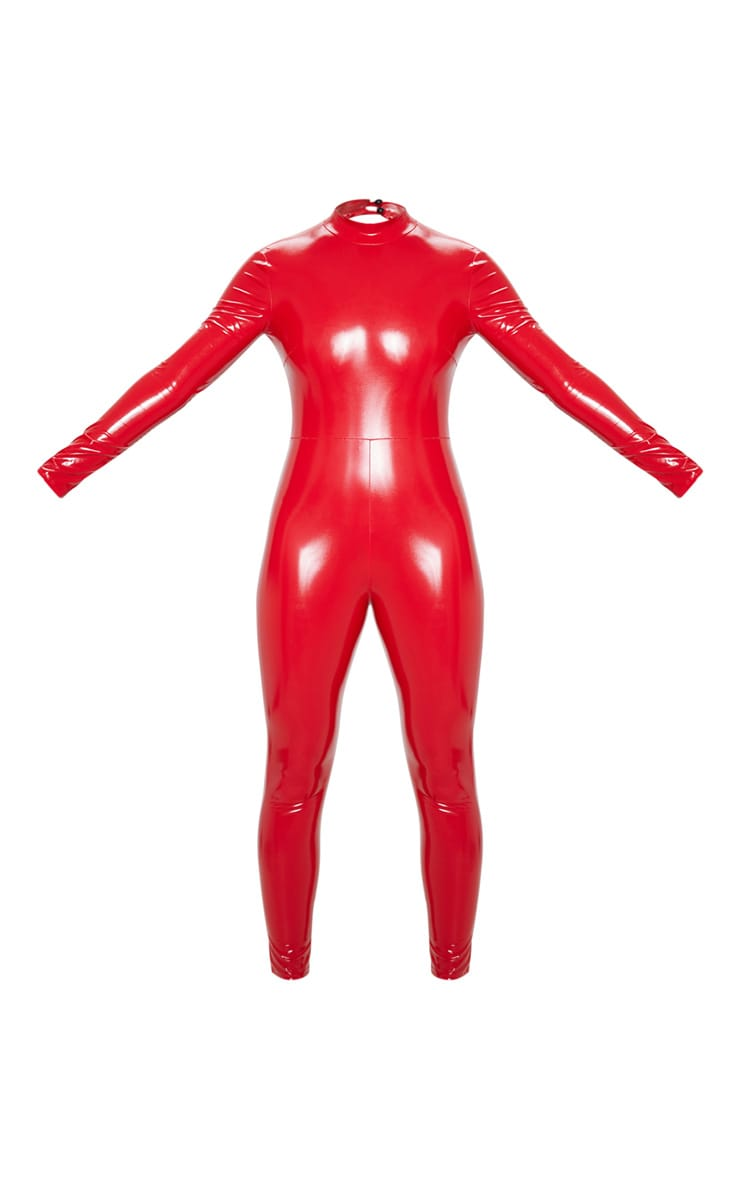 Red Backless Vinyl Long Sleeve Jumpsuit 3