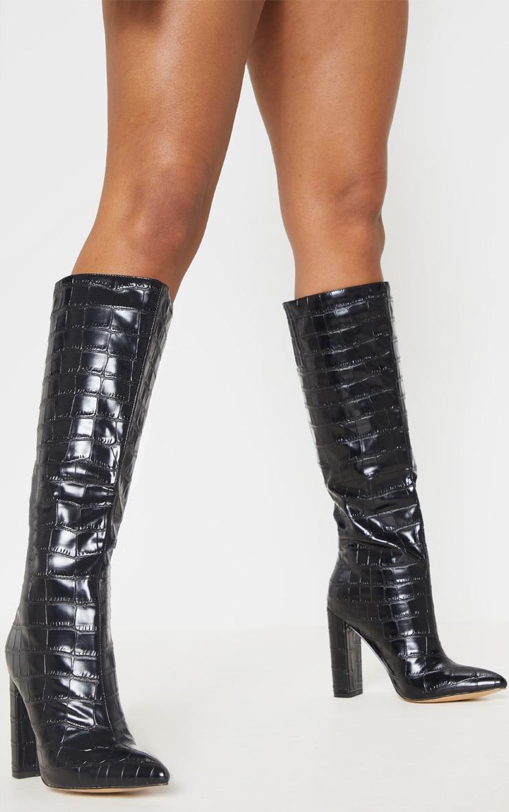 Black Knee High Point Block Heel Boot 3