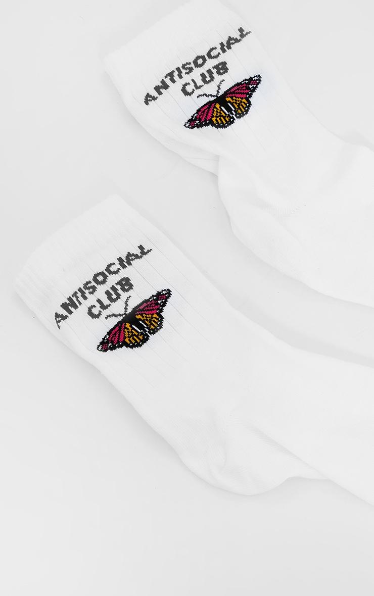 White Anti Social Butterfly Socks 3