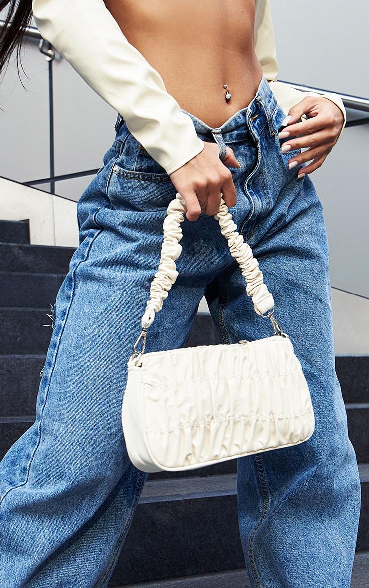 Cream Nylon Ruched Shoulder Bag 1