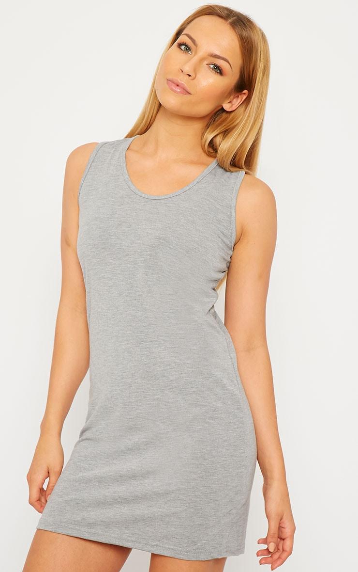 Basic Grey Jersey Mini Dress 4