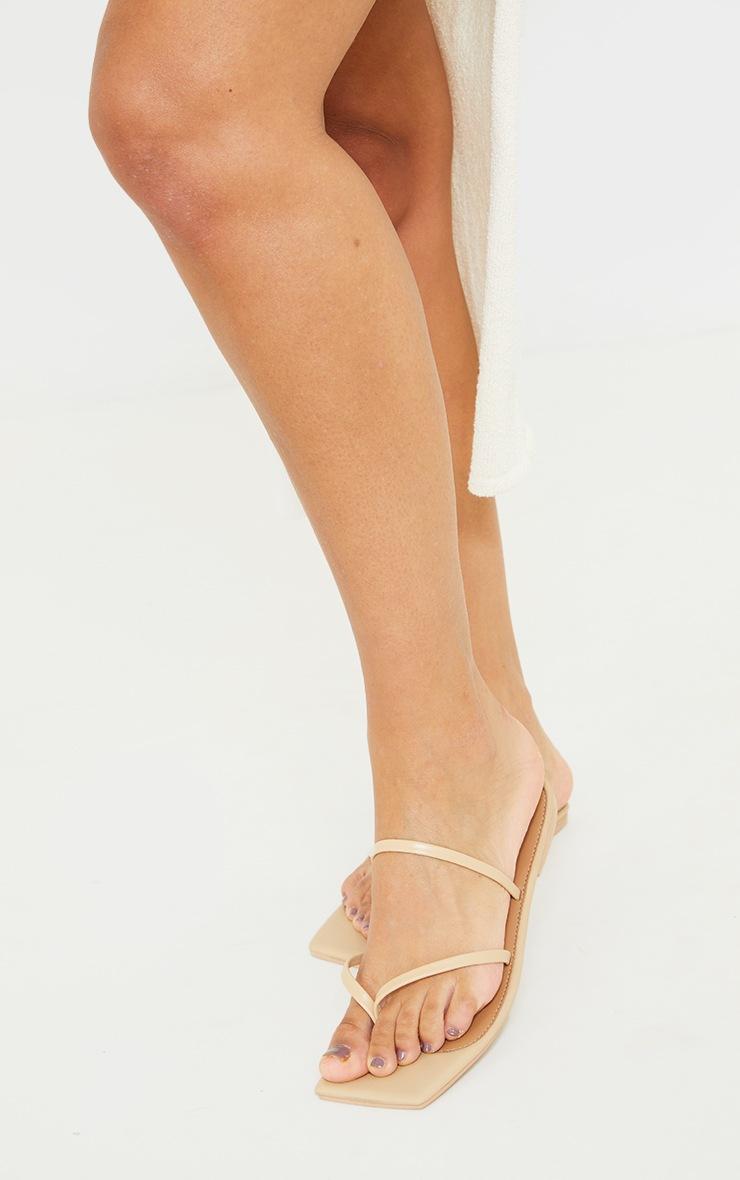 Nude Real Leather Toe Loop Slide On Square Toe Sandals 2