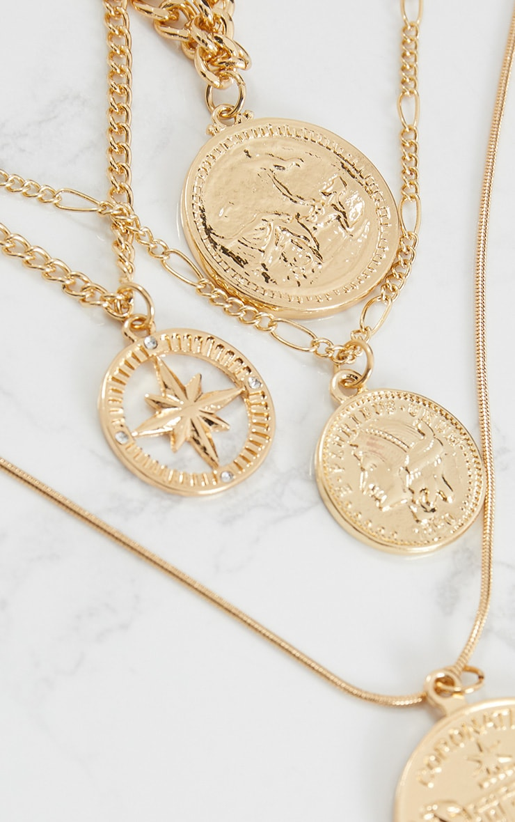 Gold Renaissance Four Layer Compass Coin Necklace 5