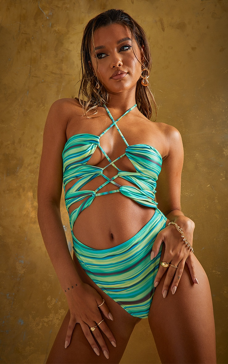 Green Abstract Stripe Lace Up Swimsuit 1
