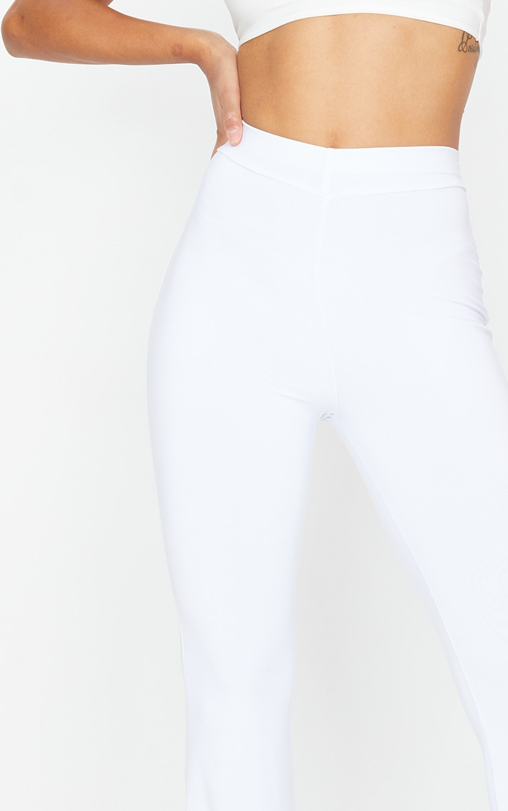 White Slinky Flared Pants 4