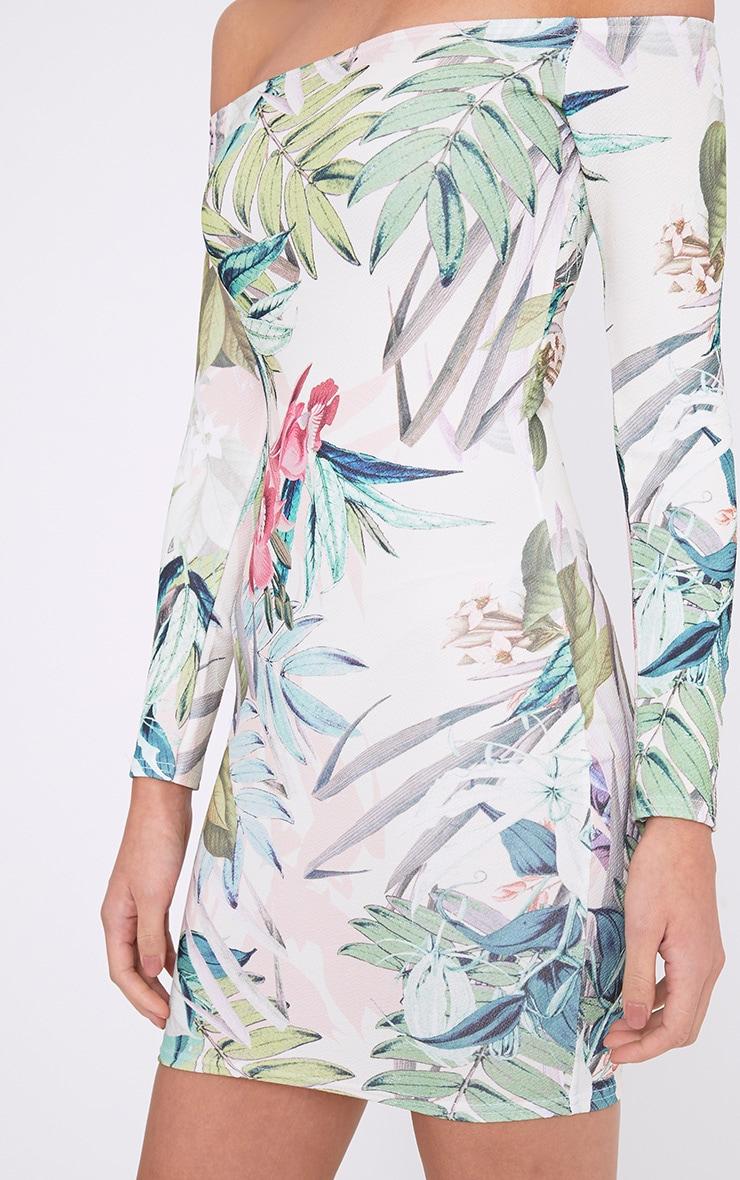 Dahliah Cream Floral Print Bardot Bodycon Dress 5